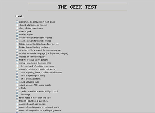 screenshot of geek test v3